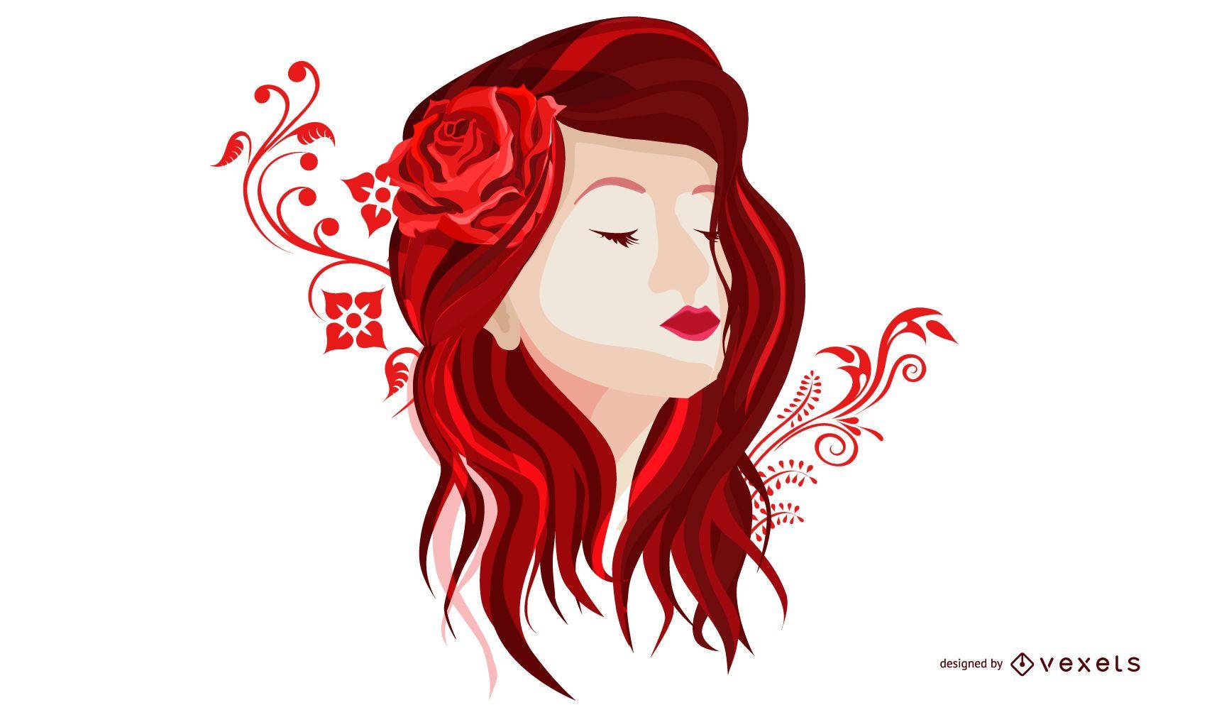 Decoración de niña rosa roja