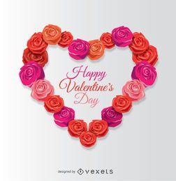 Corazón de San Valentín feliz hecho de rosas
