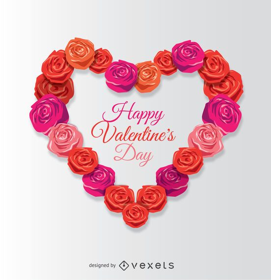 Happy Valentine\'s heart made of roses - Vector download