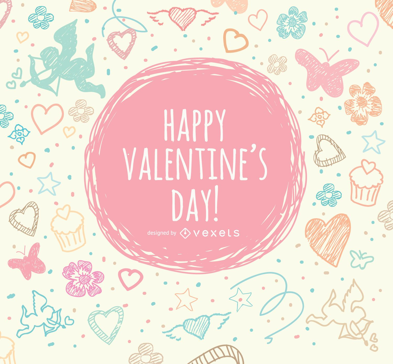 Tarjeta de felicitación del doodle de San Valentín