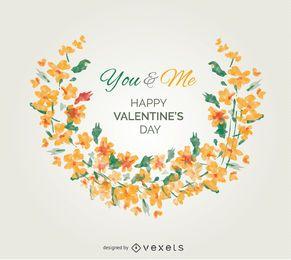 Flores de la acuarela tarjeta de felicitación de San Valentín