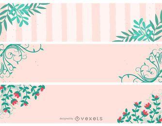 Conjunto de Banner de cabeçalho floral