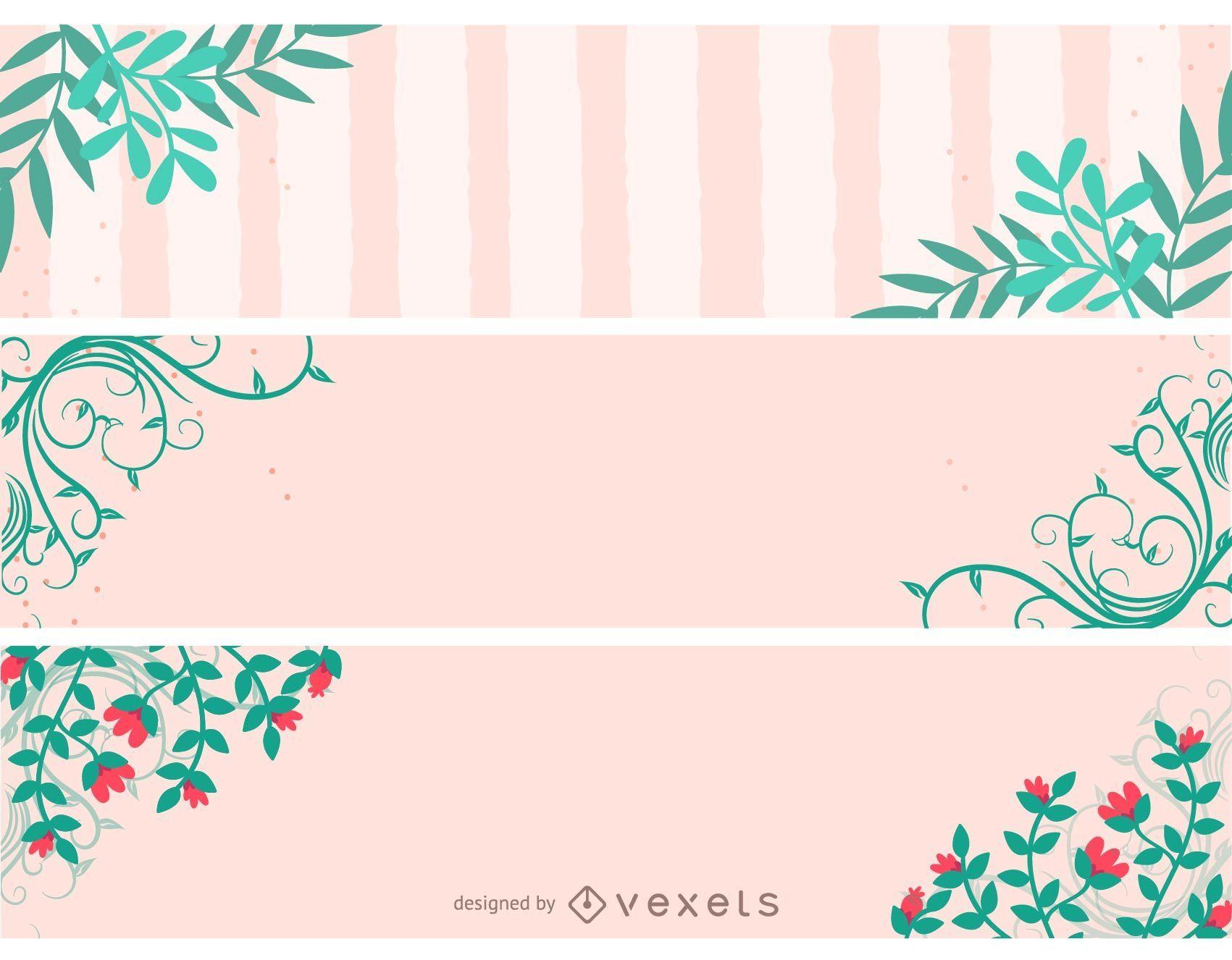 Conjunto de banner de encabezado floral