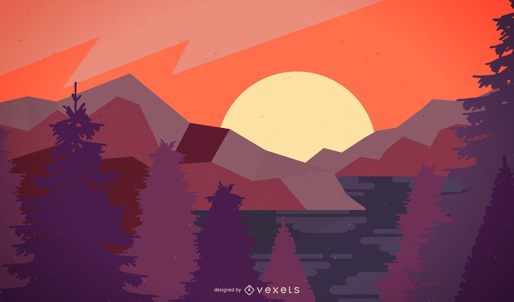 Sunset Landscape Silhouette Background Design