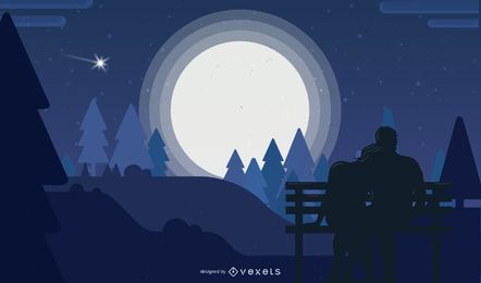 Romantic Moonlight Night Scene Background Design