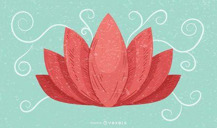 Fundo de grunge retrô de flor de lótus