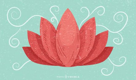 Lotus Flower Retro Grunge Background