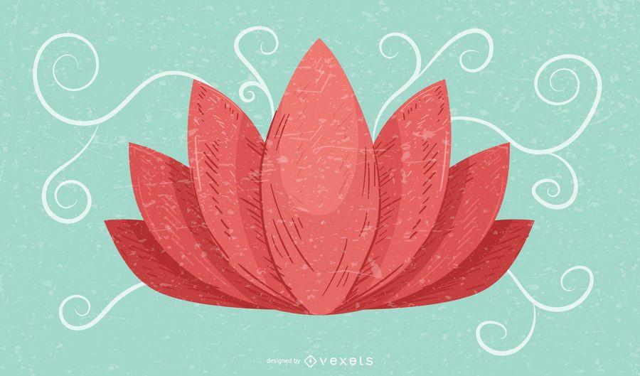 Lotus Flower Retro Grunge Hintergrund