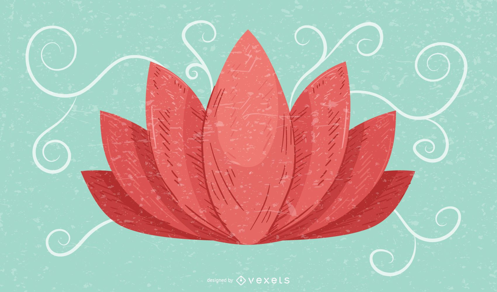 Lotus Flower Retro Grunge Background