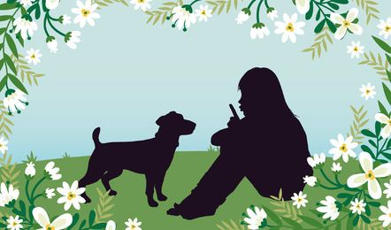 Chica con perro Grassy Field