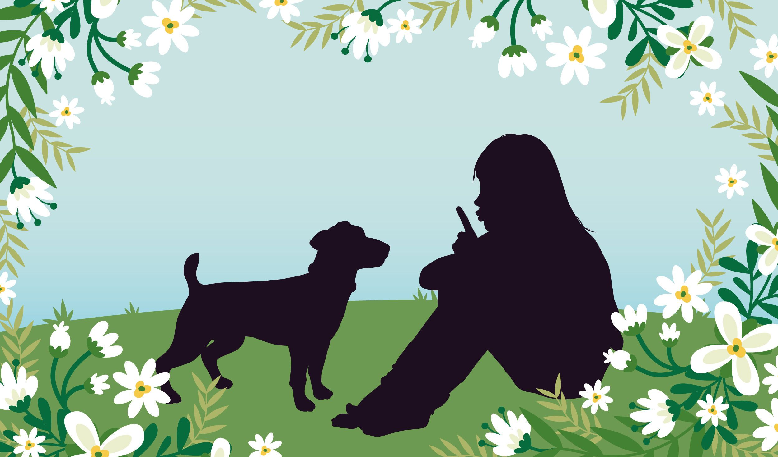 Menina com Cachorro Campo Gramado