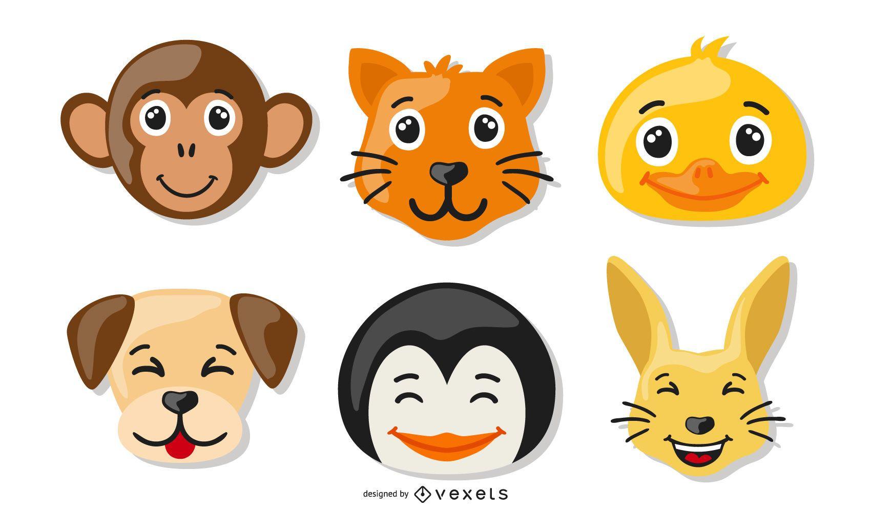 Conjunto de iconos de animales funky