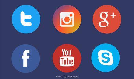 Medios sociales iconos de círculo plano