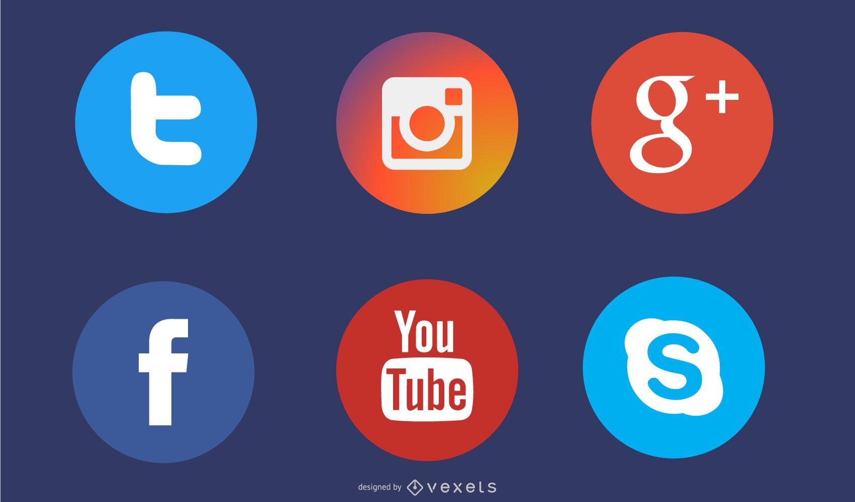 Ícones de círculo plano de mídia social