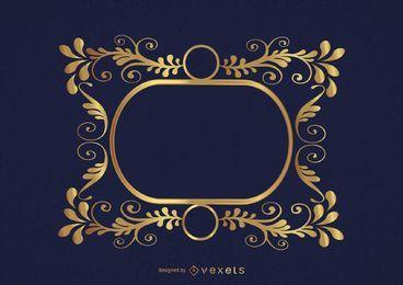 Círculos remolinos marco dorado