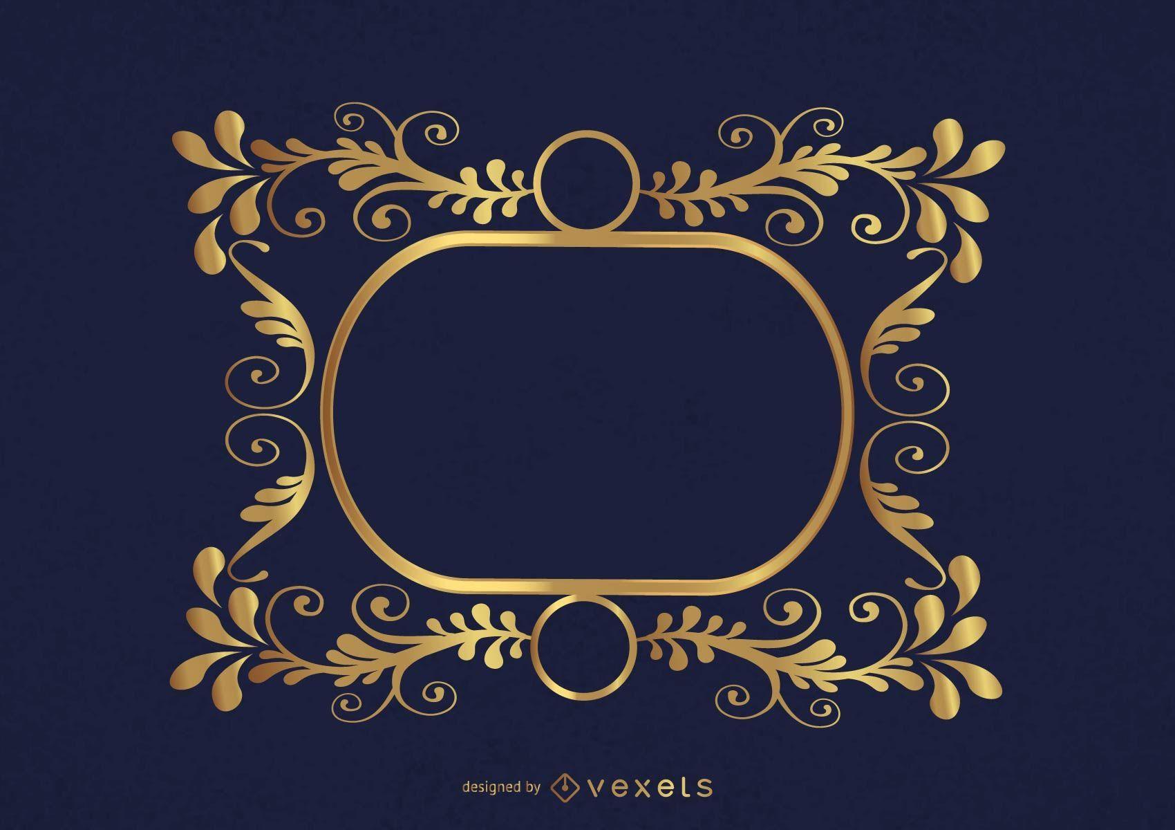 Circles Swirls Golden Frame