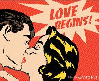 beso vintage de san valentín