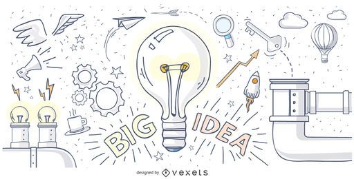 Diseño de gran idea dibujado a mano