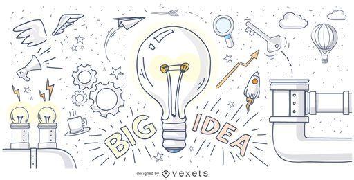 Große Idee Hand gezeichnetes Design