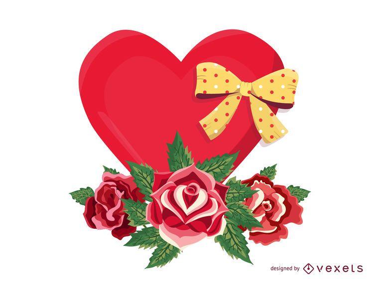 Ribbon Heart Roses Valentine Background