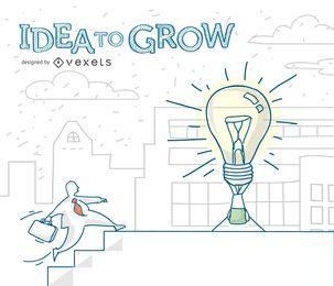 hombre de negocios Idea para crecer