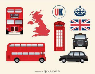 Elemente aus Großbritannien und London