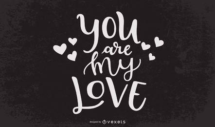 Cita de amor tipografía decoración