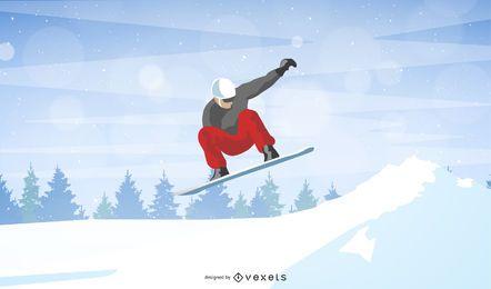 Homem, esquiando, ligado, montanha