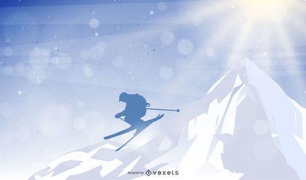 Mann springen Berg Skifahren