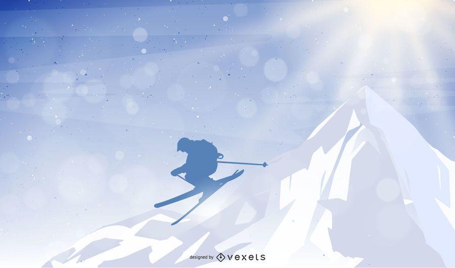 Homem, pular, montanha, esquiando