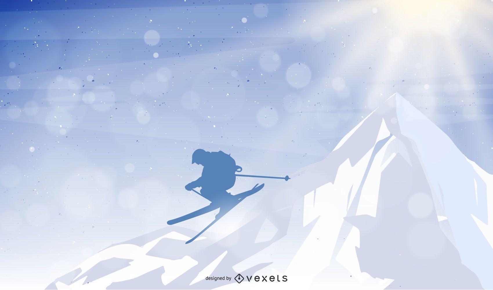 Hombre saltando esquí de montaña