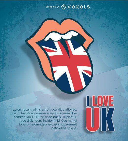 Lengua de Rolling Stones con bandera del Reino Unido