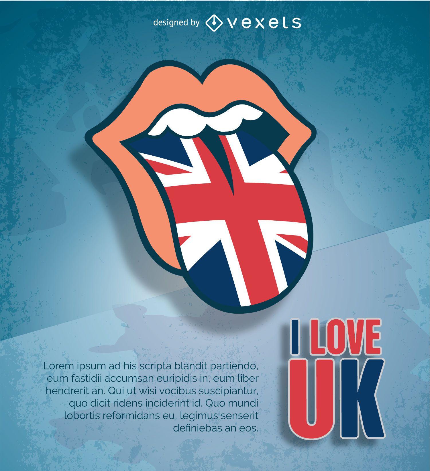 Lengua de los Rolling Stones con bandera del Reino Unido