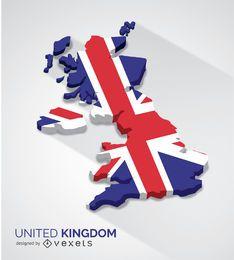 Mapa 3d do Reino Unido