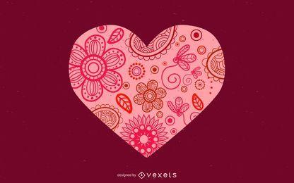 Projeto floral do coração do Valentim