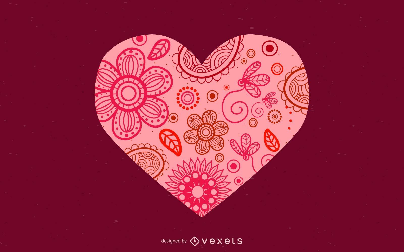Diseño floral del corazón de San Valentín