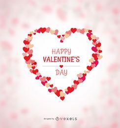 Glückliches Valentinsgrußherz gemacht von den Herzen