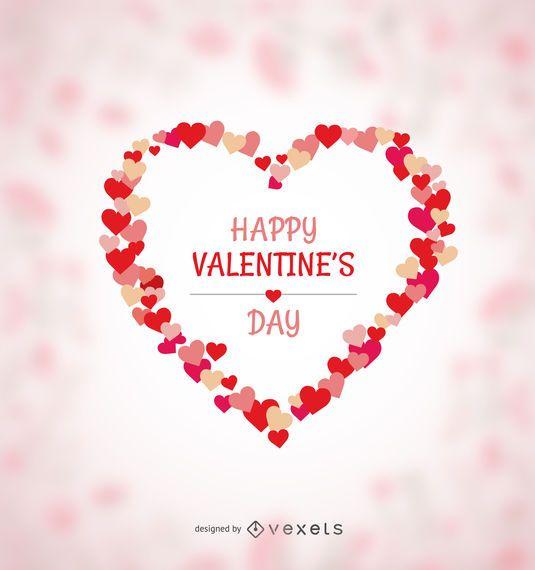 Happy Valentines heart made of hearts