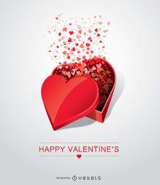 Geöffnetes geformtes Geschenk des Valentinstagsherzens