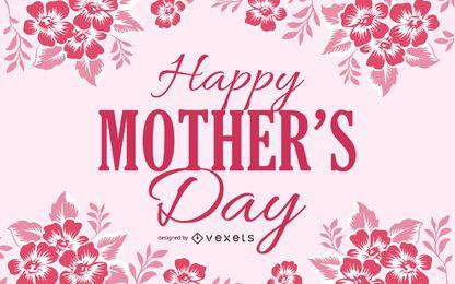 Tarjeta floral roja del día de madres