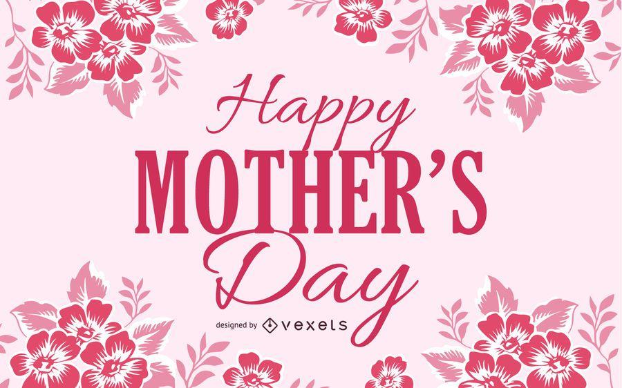 Cartão floral vermelho do dia de mães