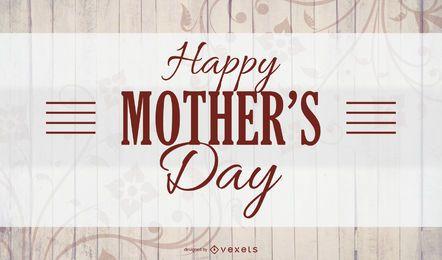 Cartão de textura de madeira de dia das mães