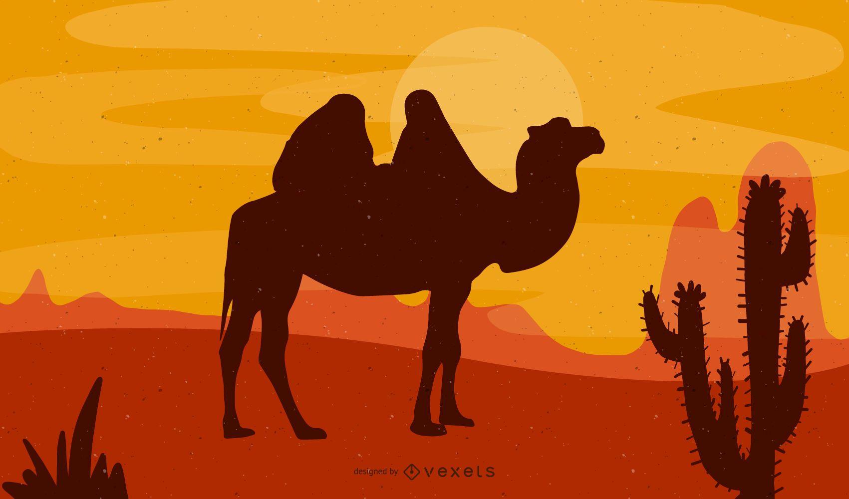 Ni?o con camello en el desierto