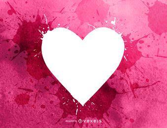 Color de agua salpicado corazón de san valentín