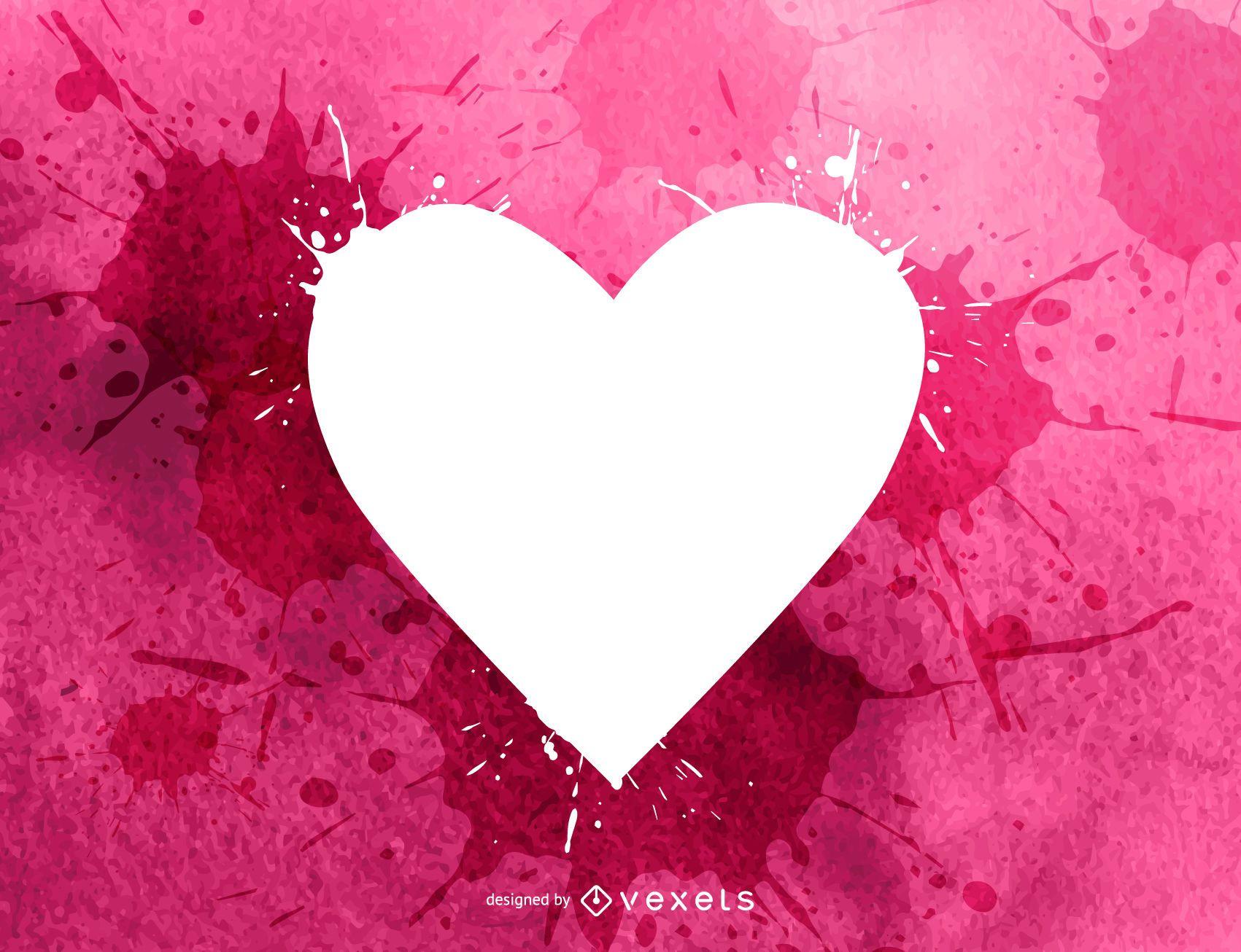 Corazón de San Valentín con salpicaduras de color de agua