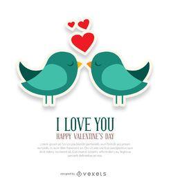 Te amo y tarjeta de pájaros