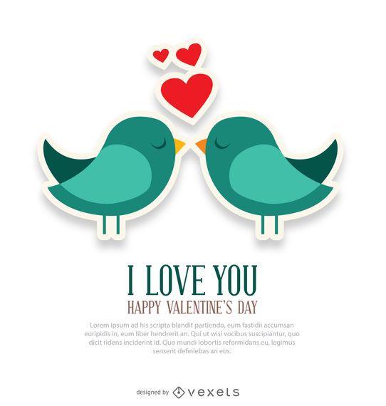 Eu te amo e pássaros cartão