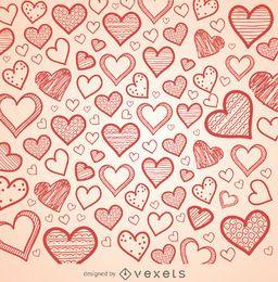 fundo de corações desenhados à mão