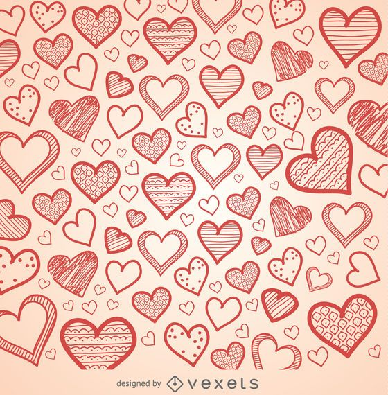hand drawn hearts background