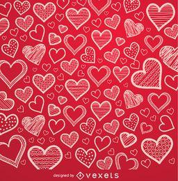 Fundo de corações vermelhos desenhados à mão